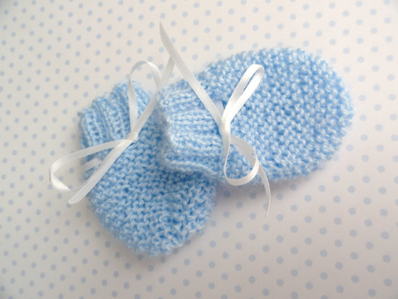 Knitting Patterns For Scratch Mittens : ADELE Hand Knitted Baby Scratch Mitts - Winter Mittens For Newborn. 6 Colors ...