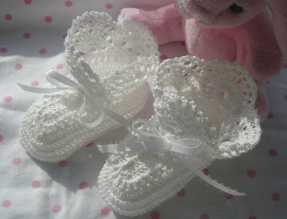 Free Crochet Patterns For Baby Converse Shoes : MADE TO ORDER Crochet Heirloom Christening Or Baptism Baby ...