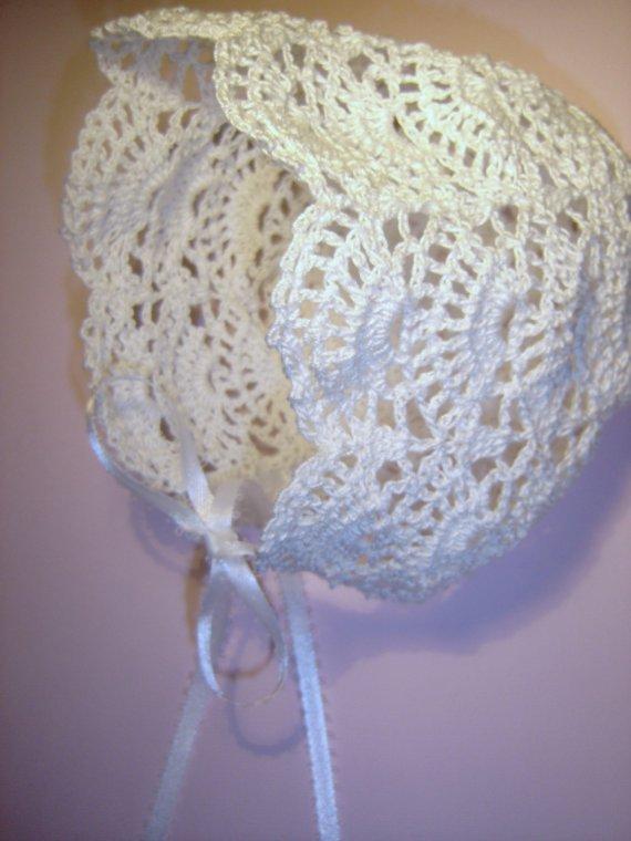 Crochet Pattern Baby Bonnet Easy : Bonnet MADE TO ORDER Crochet Heirloom Christening Or ...